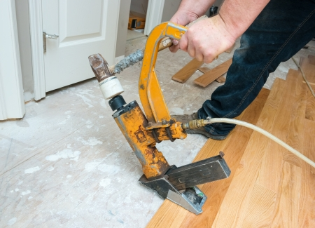A hardwood floor installation in progress   Stock Photo