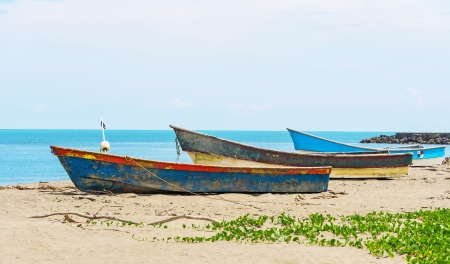Fisherman boats on the shore of Pacific ocean in Panama