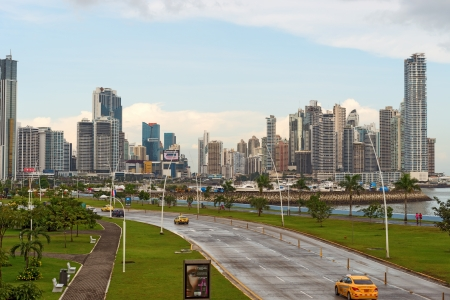 Panama City, Panama November 10, 2012  View of Marbella   Paitilla  Picture is taken from  Balboa avenue in Panama City