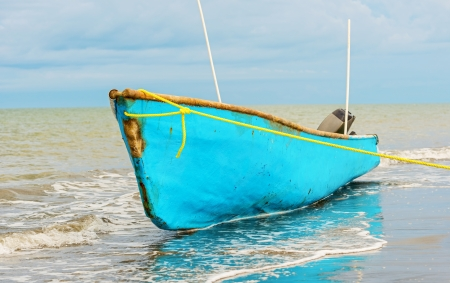 Fisherman boat on the shore of Pacific ocean in Panama 版權商用圖片