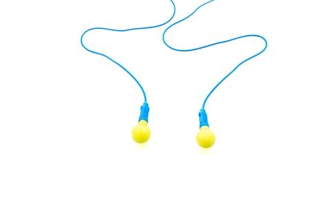 Ear plugs on white background