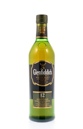 Kitchener, Canada - December 31, 2012  A 12 year old bottle of Glenfiddich Single Malt Scotch Whiskey  Glenfiddich means meaning  valley of the deer , this single malt whisky has been distilled in Speyside sine 1887