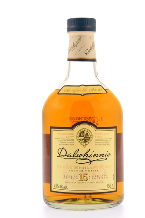 Kitchener, Canada - December 31, 2012  A bottle of Dalwhinnie Single Highland Malt Whisky  Aged 15 years and produced by Dalwhinnie distillery, the highest distillery in Scotland  Distilled at Dalwhinnie Distillery, Inverness-shire, Scotland