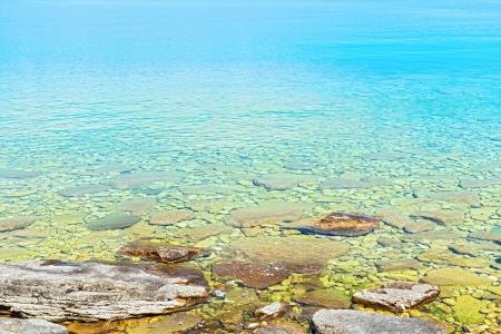 Waters of Georgian Bay in Ontario, Canada, Rocks under the water