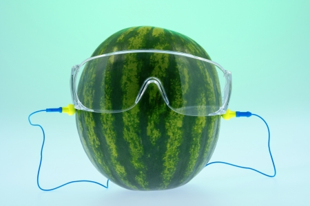 Melon safety glasses and ear plugs composition on green
