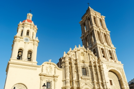 The front facade of the Catedral de Santiago in Saltillo, Mexico