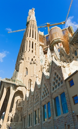 iconic and beautiful Cathedral building in Barcelona  Antoni Gaudi dedicated his final forty years to the neogothic cathedral, partially completed in 1926  Barcelona, Spain