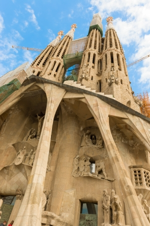 Familia, iconic and beautiful Cathedral building in Barcelona  Antoni Gaudi dedicated his final forty years to the neogothic cathedral, partially completed in 1926  Barcelona, Spain