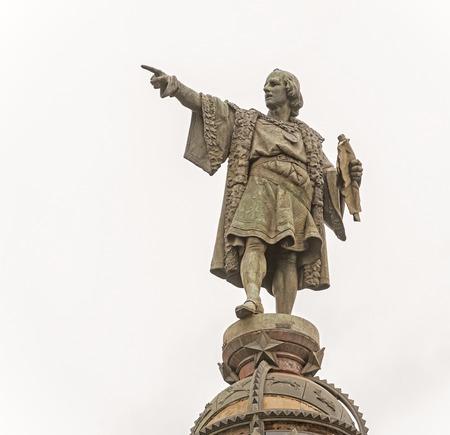 Tower of Columbus located in Plaza del Portal de la Pau in Barcelona, Spain