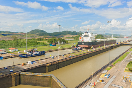 Panama City, Panama - January 2, 2014  Panama Canal, Miraflores locks on a sunny day in January 2014