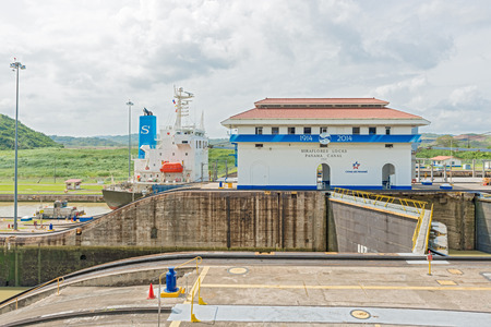 miraflores: Panama City, Panama - January 2, 2014  100 years celebration of  Panama Canal  Miraflores locks on a sunny day in January 2014