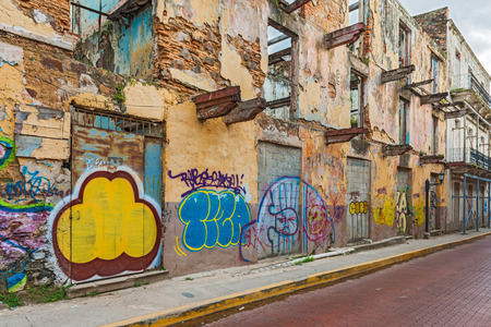 window graffiti: panama city, Casco Viejo old ruined houses on January 2, 2014