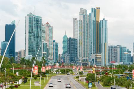 Panama city, Panama - January 2, 2014  Panama City skyscrapers skyline on sunny day in January 2014