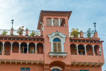 viejo: Detail of a colonial house  balcony with flowers and plants, Casco Viejo, Panama City, Panama
