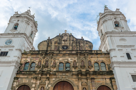 viejo: Panama City, Panama - January 2, 2014  Metropolitan Cathedral by day, located on Plaza de la Independencia in the historical area of Panama City, Casco Viejo  Stock Photo