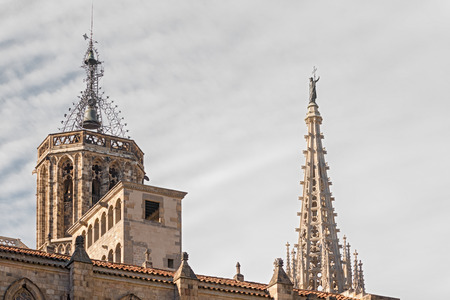 The roof of the Cathedral of the Holy Cross and Saint Eulalia  It  is the Gothic cathedral of Barcelona, and it was constructed from the 13th to 15th centuries