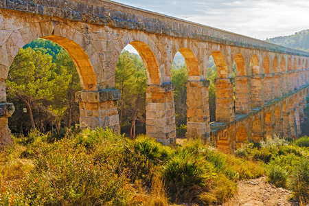 arcs: Aqueducts from the Roman area   1st century  build between the sides of the Arcs ravine which brought the water from the Francoli river to the ancient city of Tarraco, capital of the Roman province of Hispania