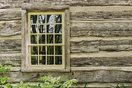 windows: Vintage farm house wall with wooden framed window on it  Stock Photo