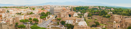 september 2: Rome, Italy - September 2, 2014: Panoramic aerial view at Coliseo and Roman Forum on September 2, 2014.