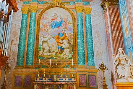 Angeli: Altar inside the  Basilica of Santa Maria Degli Angeli E Dei Martiri in Rome, Italy. Editorial