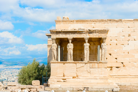 greece granite: The caryatid statues at the Erechtheion temple on Acropolis Hill, Athens Greece.