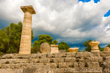 The Temple of Zeus ruins in ancient Olympia, Peloponnes, Greece photo