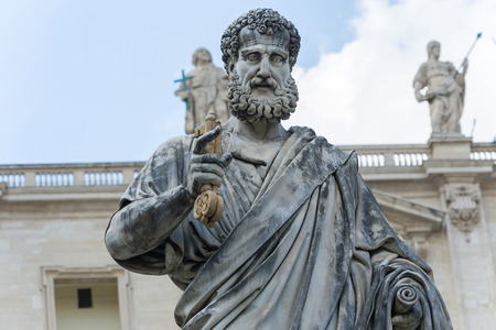 Sculpture of Saint Peter in front of St. Peter Basilica in Rome, Italy Stock Photo