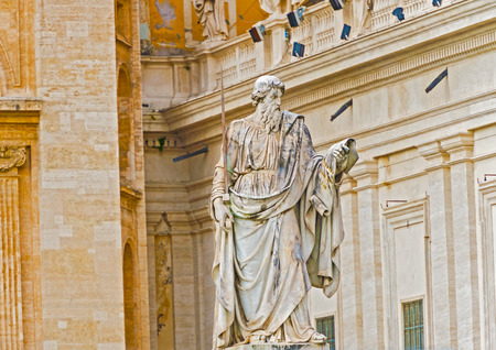 apostle: Statue of Apostle Paul in front of the Basilica of St. Peter, Vatican, Italy, Rome.
