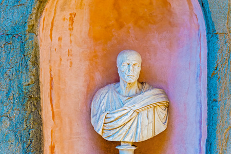 castel: Sculpture Bust at Castel Sant Angelo, Rome Editorial