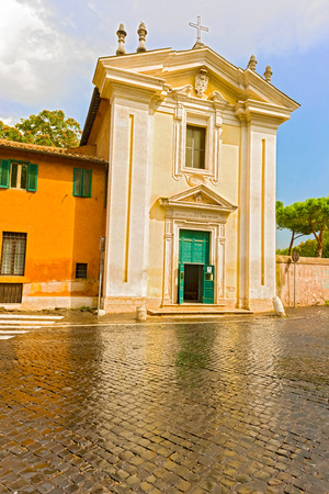 The Church of St Mary in Palmis, known as Chiesa del Domine Quo Vadis, is a small church in Rome. Stock Photo