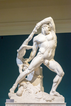 modern art: Rome, Italy - September 19, 2014: Ercole e Lica 1795-1815, sculpture by Antonio Canova in Modern Art National Museum in Rome, Italy Editorial