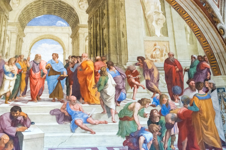 plato: The School of Athens, is one of the most famous frescoes by the Italian Renaissance artist Raphael. It was painted between 1509 and 1511 as part of Raphaels commission to decorate with frescoes the rooms  in the Apostolic Palace in the Vatican.