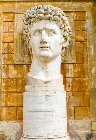 1st century: Colossal portrait of Augustus from 1st century AD at Vatican Museums Editorial