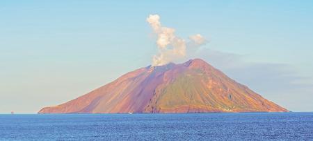 stromboli: The island Stromboli near Sicily on Tyrrhenian sea. Stromboli is the most active volcanoes in Europe.
