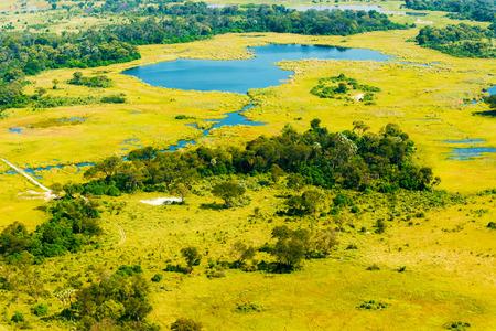 Aerial view at picturesque view of Okavango Delta, Botswana.