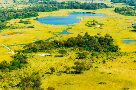 Aerial view at picturesque view of Okavango Delta, Botswana.