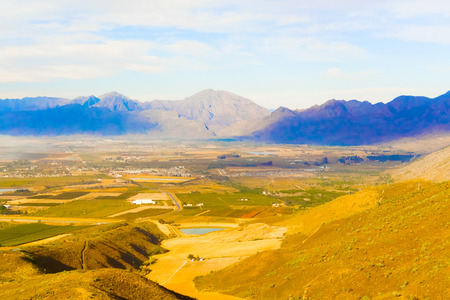 valley below: The Gydo Pass, well known for the magnificent views over the valley below and for bird watching Stock Photo