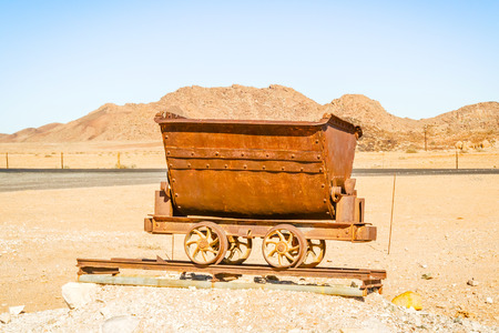 mining: Old mining cart by N7 road near Vioolsdrif in South Africa