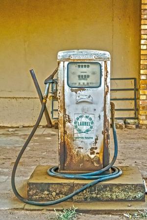 Kliprand, South Africa - May 4, 2015: Old pump at gas station in Kliprand, South Africa