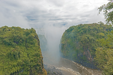 View of the Victoria Falls in Zambia Stock Photo