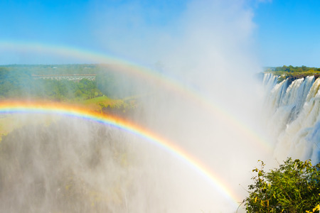 Rainbow over the Victoria Falls in Zimbabwe