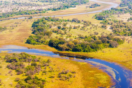 delta: Aerial view at picturesque view of Okavango Delta, Botswana.