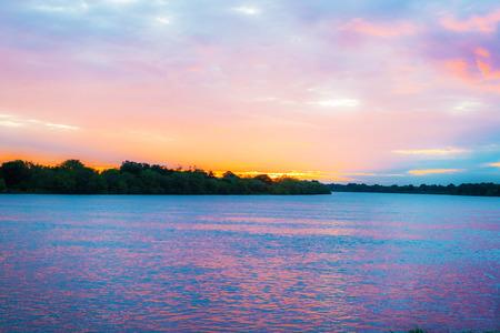 zambian: Sunset over Zambezi river in Victoria Falls in  Zambian.