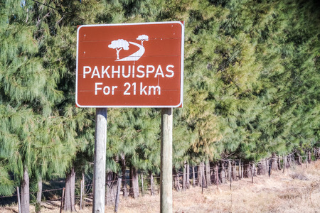 The Pakhuis Pass road sign. The Pass lies roughly 20 kilometres outside of Clanwilliam with incredible views from the top of the pass onto the Karoo.