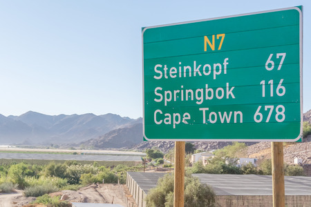Sign at N 7 road near Vioolsdrif in Soth Africa
