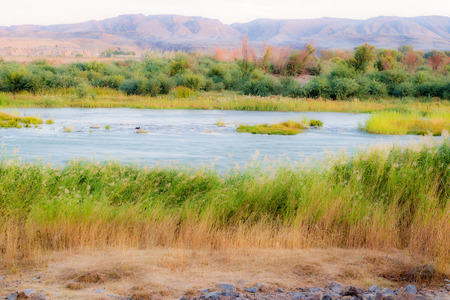 felix: Scenic daylight view at the Orange river in Noordoewer in Namibia at Felix Unite Camp on May 1, 2015 Stock Photo