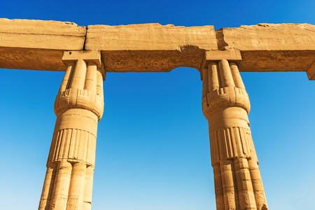 Photo of a colonnade at the The Great Temple of Amun, Karnak Temple Complex, modern Luxor, Egypt.