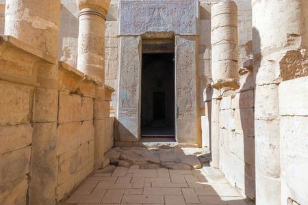 thebes: Door in Queen Hatshepsuts Temple, Luxor (Thebes) in Egypt. Stock Photo