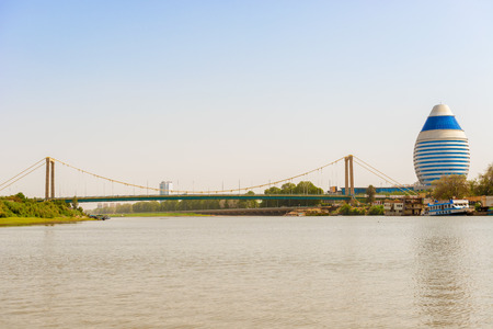 The city of Khartoum landscape. View of the modern buildings and the bridge over river Nile. Imagens