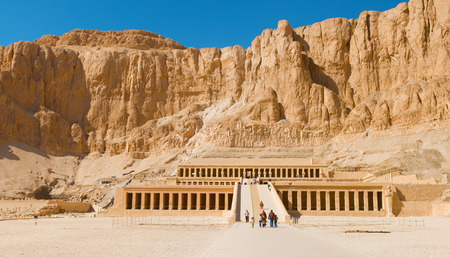 Luxor, Egypt - January 15, 2015: Tourists visiting the temple of Hatshepsut in Egypt near The Valley Of The Kings Editorial